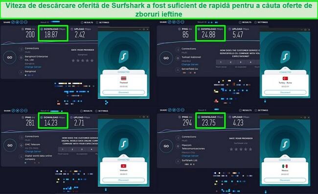 Captură de ecran a 4 teste de viteză efectuate pe diferite servere Surfshark