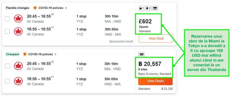 Compararea prețurilor rutei Miami-Tokyo folosind servere din Marea Britanie și Thailanda
