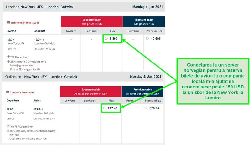 Compararea prețurilor pentru zborurile New York-Londra care arată diferențe în timp ce sunt conectate la servere din Norvegia și Marea Britanie