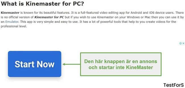 Klicka inte på Ad KineMaster