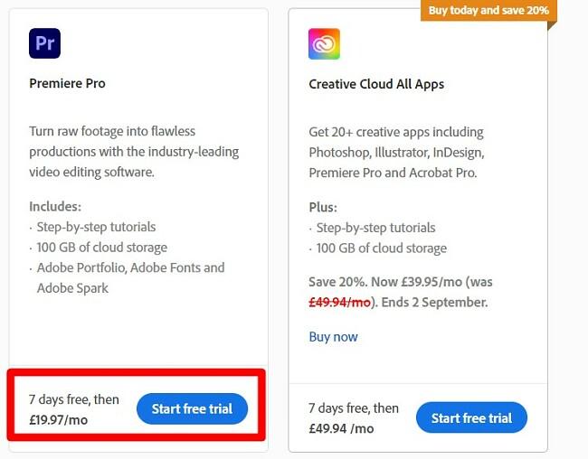 Start free trial Premiere Pro