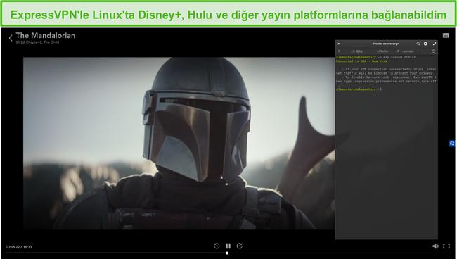Disney + ABD'den The Mandalorian'ın engelini kaldıran Linux'ta ExpressVPN'in ekran görüntüsü.