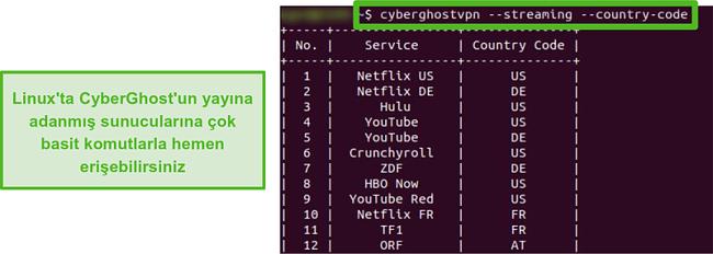 CyberGhost'un Linux'taki özel akış sunucularının ekran görüntüsü.