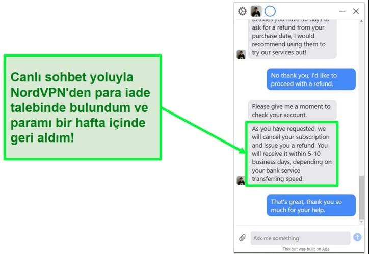 Canlı sohbet yoluyla onaylanan NordVPN iadesinin ekran görüntüsü