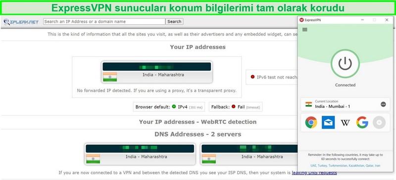 Hindistan'daki ExpressVPN sunucusunda bir IP ve DNS sızıntı testinin ekran görüntüsü