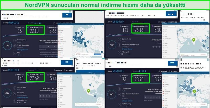 NordVPN sunucu hızını normal trafik hızıyla karşılaştıran 4 hız testinin ekran görüntüleri
