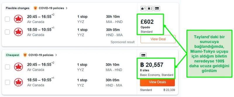 İngiltere ve Tayland'daki sunucuları kullanarak Miami-Tokyo rotasının fiyat karşılaştırması