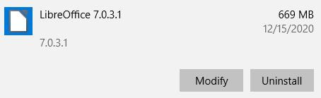 Uninstall LibreOffice