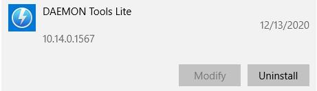 قم بإلغاء تثبيت برنامج Daemon Tools Lite