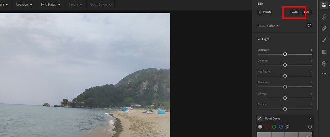 Using the Auto Lightroom feature
