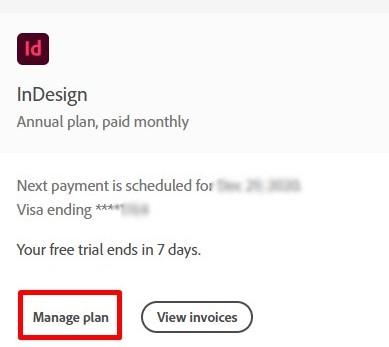 manage plans Adobe