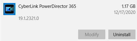 قم بإلغاء تثبيت برنامج powerdirector