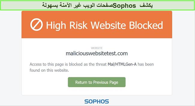 لقطة شاشة لـ Sophos Web Protection يحظر موقعًا عالي الخطورة