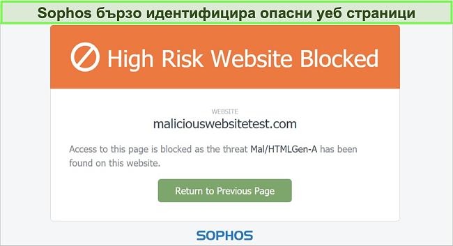 Екранна снимка на Sophos Web Protection, блокираща високорисков уебсайт