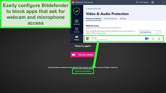 Screenshot of Bitdefender blocking webcam access to a website.