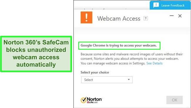 Screenshot of Norton blocking Google Chrome's attempt to access the webcam.