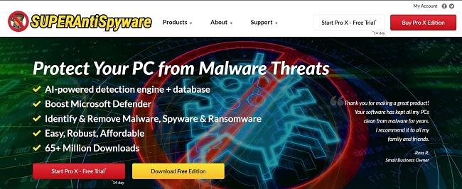 Screenshot der Homepage der SUPERAntiSpyware-Website.
