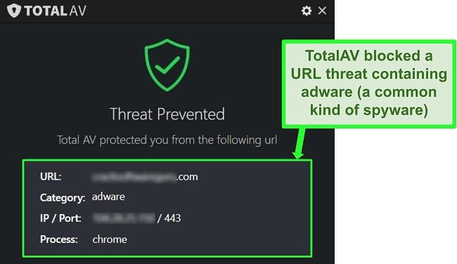 Screenshot showing TotalAV blocking a malicious URL hosting adware.