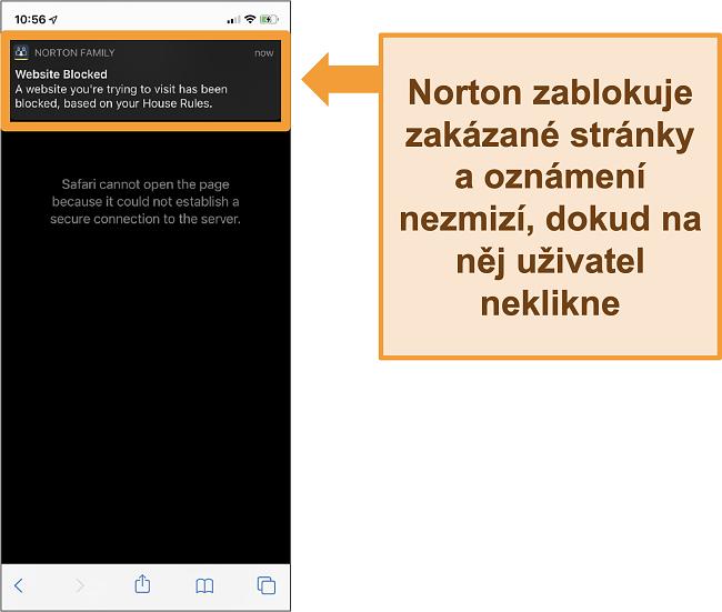Screenshot antiviru Norton s rodičovskou kontrolou aktivovanou na iPhone a blokující zakázané weby