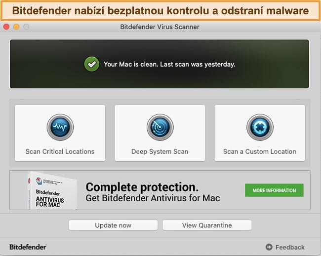 Screenshot řídicího panelu aplikace Bitdefender na Macu
