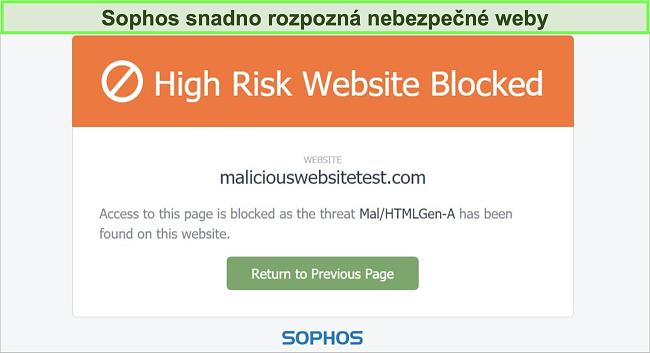 Screenshot Sophos Web Protection blokující vysoce rizikový web