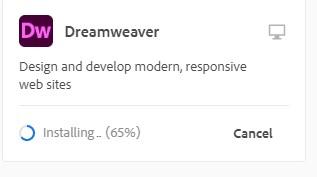Creative Cloud installs Dreamweaver