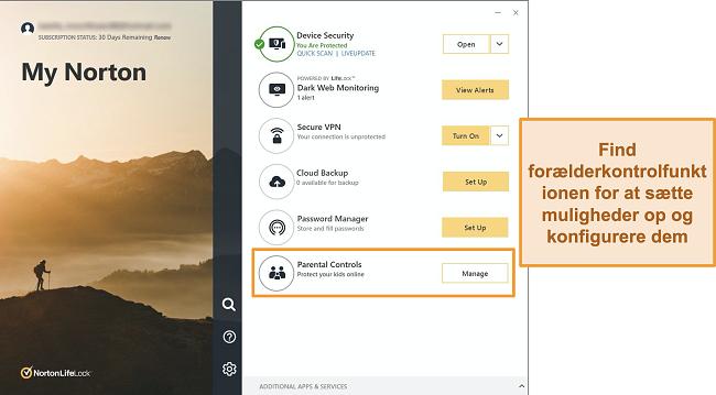 Skærmbillede af Norton 360-appgrænsefladen med Forældrekontrol fremhævet