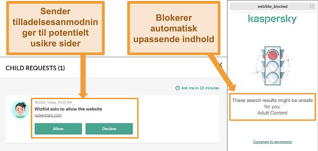 Screenshots af Kaspersky, der blokerer for adgang til usikre websteder.