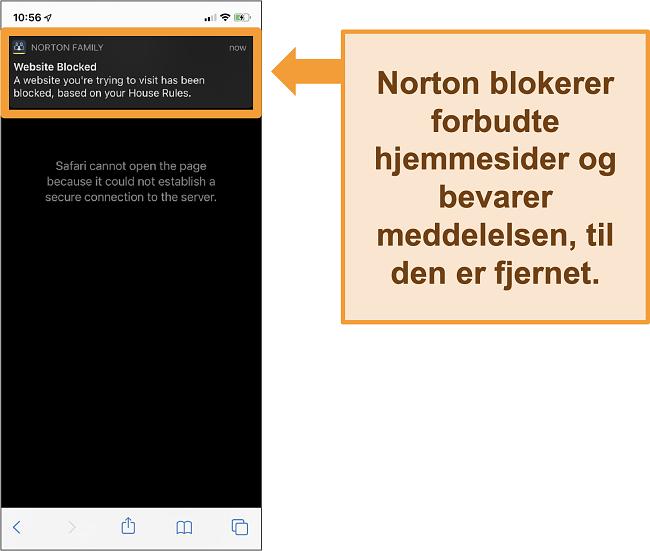 Skærmbillede af Norton-antivirus med forældrekontrol aktiveret på iPhone og blokering af forbudte websteder
