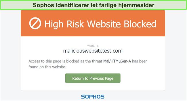 Skærmbillede af Sophos Web Protection, der blokerer for et højrisiko-websted