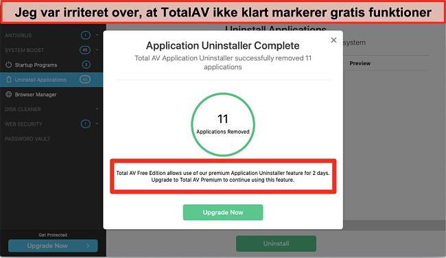 Skærmbillede af TotalAV Application Uninstaller upsell forsøg