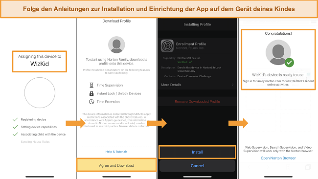 Screenshots des Einrichtungsprozesses für Norton Family auf dem iPhone
