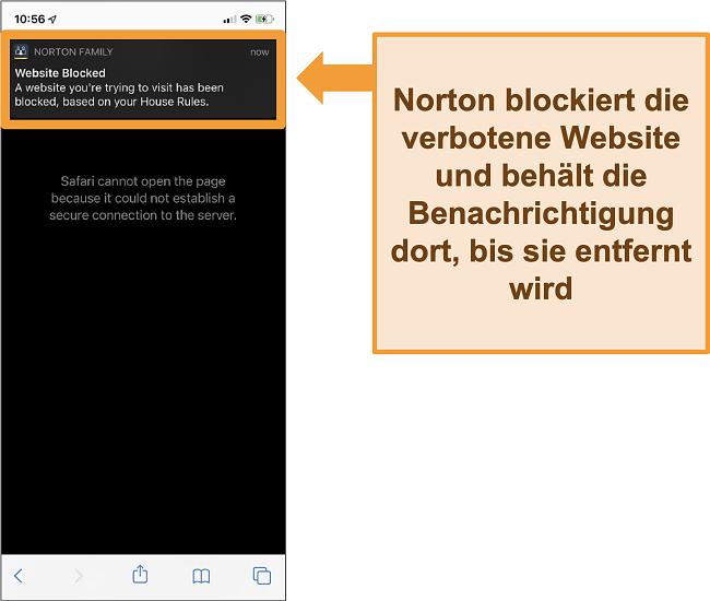 Screenshot von Norton Antivirus mit auf dem iPhone aktivierter Kindersicherung und Blockierung verbotener Websites