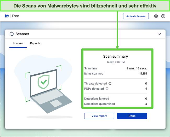 Skjermbilde av Malwarebytes som utfører en trusselskanning på Mac