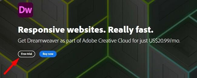 Download free trial Adobe Dreamweaver