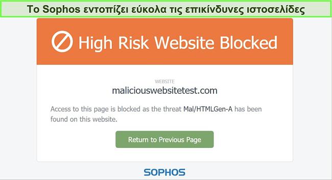Στιγμιότυπο οθόνης του Sophos Web Protection που αποκλείει έναν ιστότοπο υψηλού κινδύνου