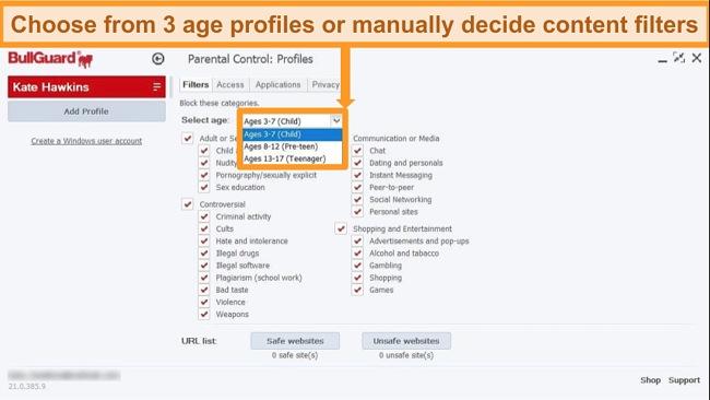Screenshot of BullGuard's parental control options.