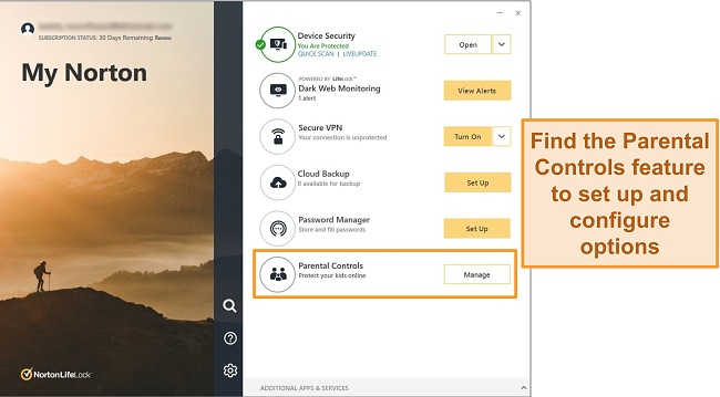 Screenshot of Norton 360 app interface with Parental Controls highlighted