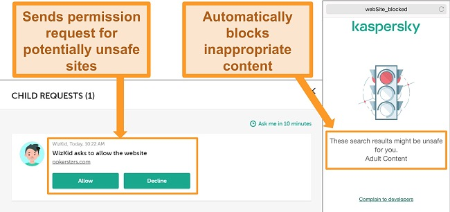 Screenshots of Kaspersky blocking access to unsafe sites.