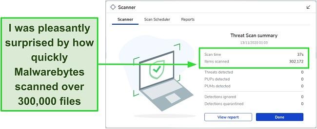 Screenshot of Malwarebytes Threat Scan results.