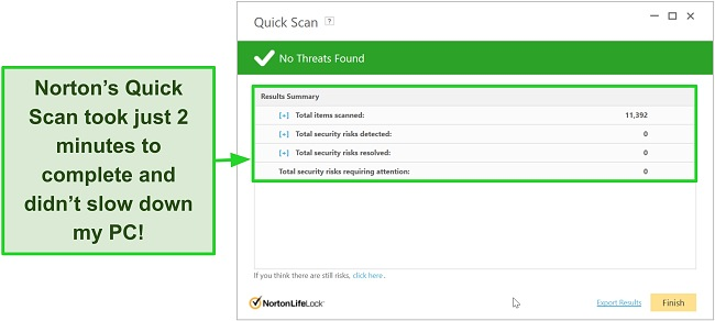 Screenshot of Norton's quick scan results screen.