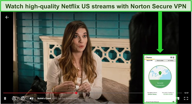 Screenshot of Norton 360's VPN unblocking Netflix US.