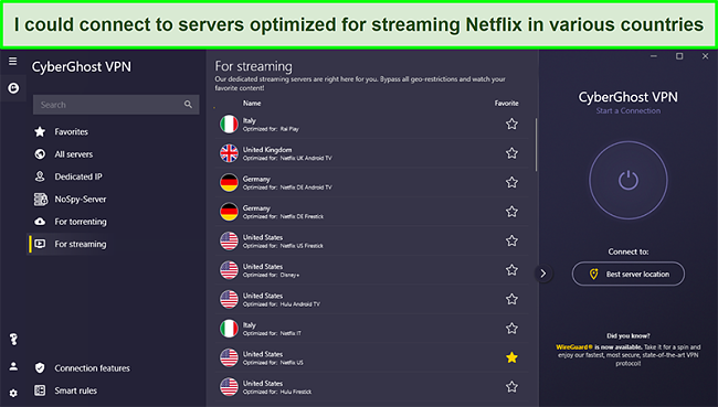 Screenshot of CyberGhost's servers optimized for streaming Netflix