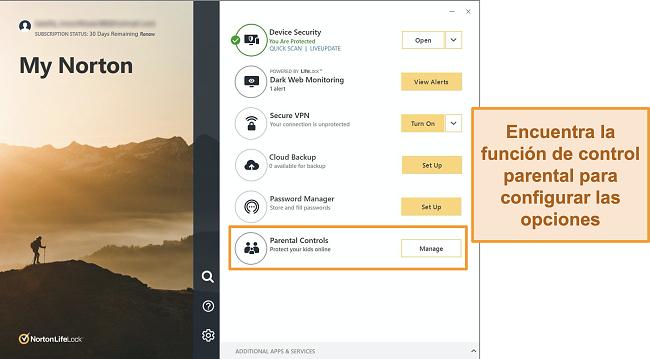 Captura de pantalla de la interfaz de la aplicación Norton 360 con los controles parentales resaltados