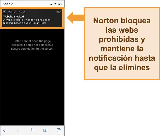 Captura de pantalla del antivirus Norton con controles parentales activados en el iPhone y bloqueo de sitios web prohibidos