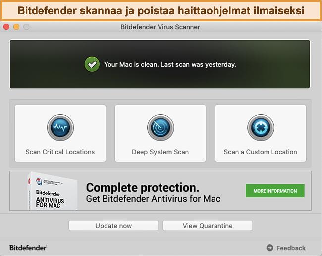 Näyttökuva Bitdefender-sovelluksen hallintapaneelista Macissa
