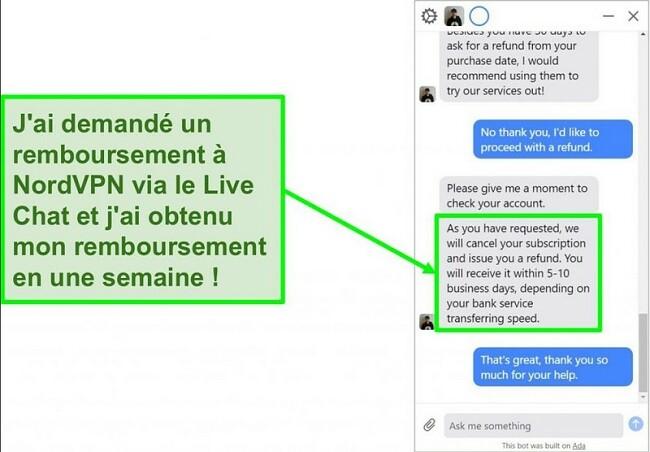 Capture d'écran d'un client demandant un remboursement avec la garantie de remboursement de 30 jours sur le chat en direct de NordVPN