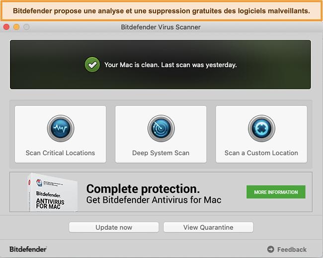Capture d'écran du tableau de bord de l'application Bitdefender sur Mac
