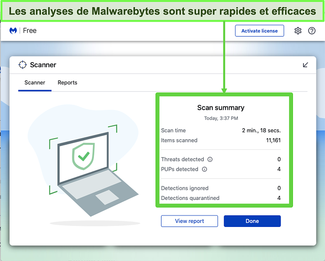 Capture d'écran de Malwarebytes effectuant une analyse des menaces sur Mac