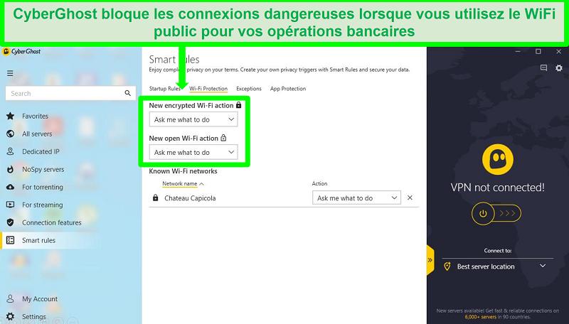Capture d'écran de la page des paramètres Smart Rules de connexion de CyberGhost